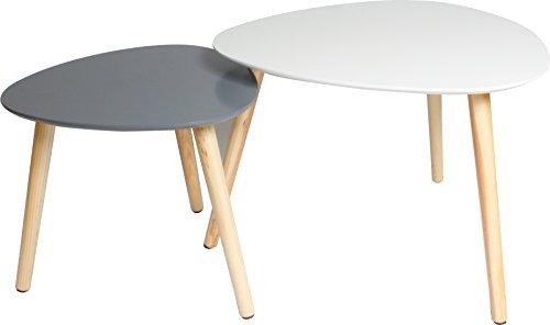 2er Set Couchtisch / Beistell-tische im Retro-Stil, Sofatisch mit drei Beinen 55x55cm (Weiss matt) & 40x40cm (Grau)