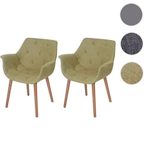 2x Esszimmerstuhl Malmö T820, Stuhl Lehnstuhl, Retro 50er Jahre Design ~ Textil, grün