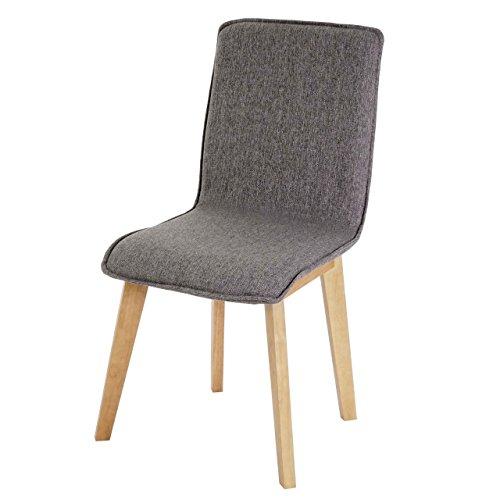 2x Esszimmerstuhl Zadar, Stuhl Lehnstuhl, Retro 50er Jahre Design, Textil ~ grau ohne Naht