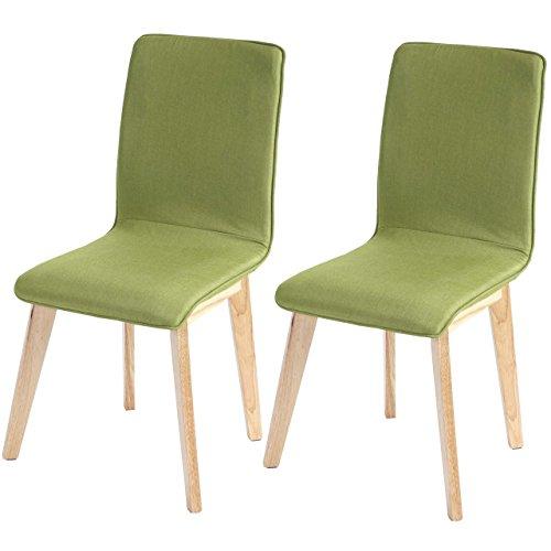 2x Esszimmerstuhl Zadar, Stuhl Lehnstuhl, Retro 50er Jahre Design, Textil ~ grün mit Naht