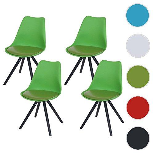 4x Esszimmerstuhl Malmö T501, Retro Design ~ grün, Sitzfläche Kunstleder grün, dunkle Beine