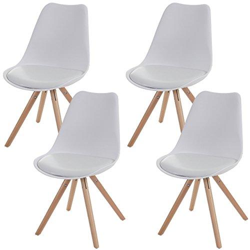 4x Esszimmerstuhl Malmö T501, Retro Design ~ weiß, Sitzfläche Kunstleder weiß, helle Beine