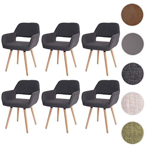 6x Esszimmerstuhl HWC-A50 II, Stuhl Lehnstuhl, Retro 50er Jahre Design ~ Textil, grau