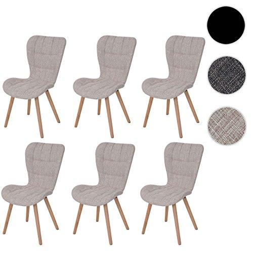 6x Esszimmerstuhl HWC-A87, Stuhl Lehnstuhl, Retro 50er Jahre Design ~ Textil, creme