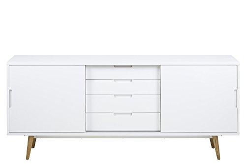 AC Design Furniture Sideboard weiß Hochglanz mit 2 Schiebetüren und 4 Schubladen Romin