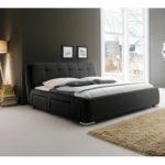 ALTANA Polsterbett Kunstlederbett Bett Designerbett - 180 x 200 cm Schwarz