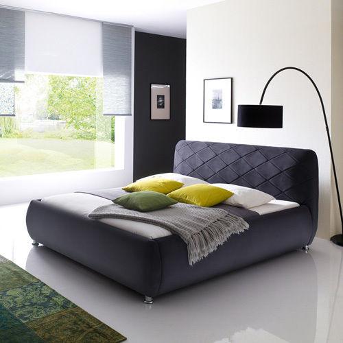 ANCONA Polsterbett Velours Stoffbett Designerbett Bett - 180 x 200 cm Anthrazit