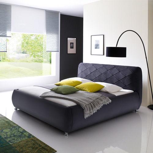 ANCONA Polsterbett Veloursstoff Designerbett Bett Modern 180x200 cm Anthrazit