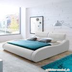 ARUBA Polsterbett Kunstlederbett Bett Designerbett Design - 200 x 200 cm Weiß