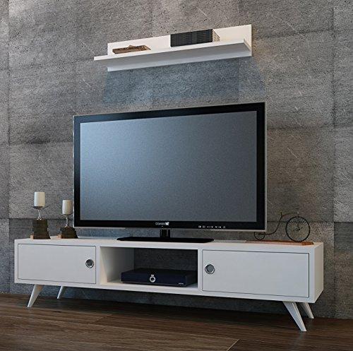 ASPEN Wohnwand - Weiß / Nussbaum - TV Lowboard mit Wandregal in modernem Design