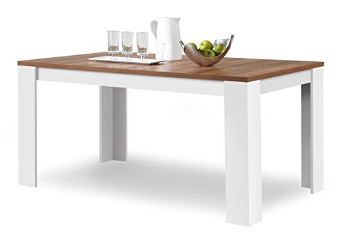 Agionda® Esstisch Toledo in Weiss und Nussbaum 120 x 80 cm mit kratzfester Melamin Oberfläche