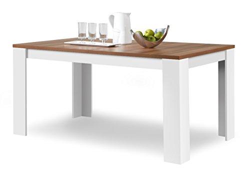 Agionda® Esstisch Toledo in Weiss und Nussbaum 140 x 90 cm mit kratzfester Melamin Oberfläche