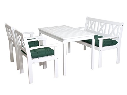 ambientehome 90552 garten sitzgruppe essgruppe massivholz evje weiss inkl gr ne kissen 4. Black Bedroom Furniture Sets. Home Design Ideas