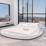 Anself Polsterbett Doppelbett Bett Ehebett Rundbett Gästebett aus Kunstleder 180x200cm mit Matratze Weiß