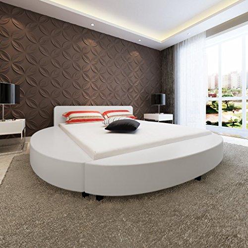 Anself Polsterbett Kunstlederbett Bettgestell Bett Ehebett Doppelbett Rundbett 200 x 180cm mit Matratze Weiß