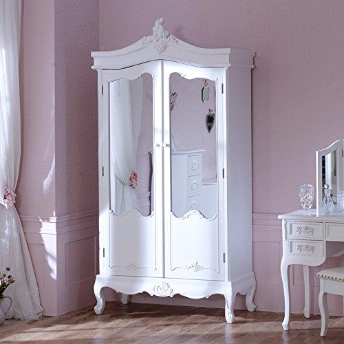 Antik Weiß verspiegelter Doppel-Kleiderschrank Pays Blanc Range –