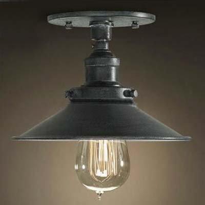 BAYCHEER Retro Vintage Deckenleuchte Haengeleuchte 22cm Breite Haengelampe Wohnzimmerlampen Küchenlampen Korridor E27 Lampenfassung für LED Glühmlampe Schwarz