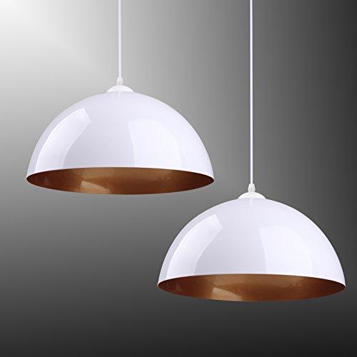 BAYTTER® Design 2x Industrielle Vintage LED Pendelleuchte Hängeleuchte Φ 30cm für E27 Leuchtmittel, schwarz und weiß wählbar, für Wohnzimmer Esszimmer Restaurant Keller Untergeschoss usw. (weiß)