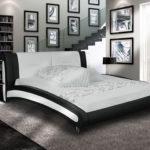 BELINDA Designer Doppelbett Polsterbett Lederbett Leder Bett schwarz-weiß Betten