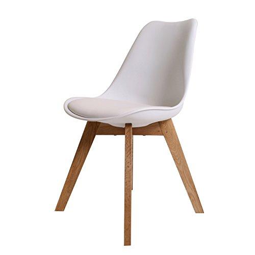 BUTIK FL20360-4 Angebot 4-er Set Moderner Design Esszimmerstuhl Consilium Valido, Eichenholz, 83 x 48 x 39 cm, weiß