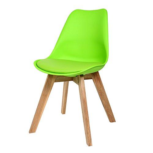 BUTIK FL20367-4 Angebot 4-er Set Moderner Design Esszimmerstuhl Consilium Valido, Eichenholz, 83 x 48 x 39 cm, grün