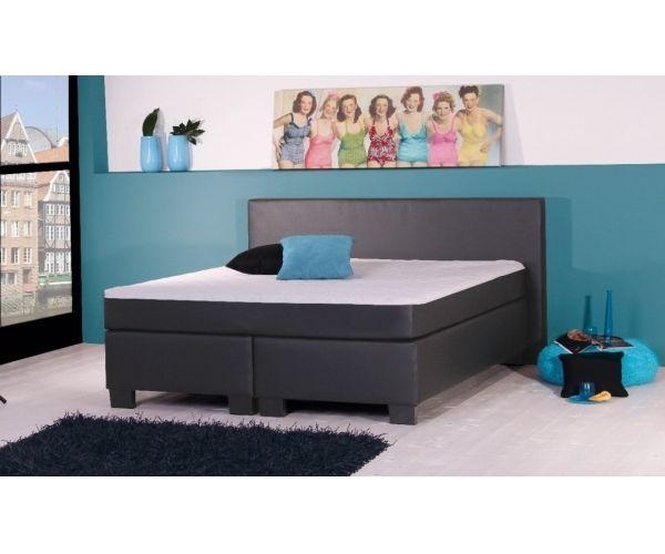 BX290 Boxspringbett Bett Doppelbett Kunstlederbezug schwarz ca. 180 x 200 cm