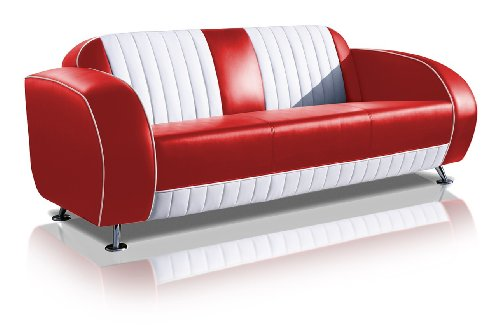 Bel Air Zweisitzer Sofa 2 Farben Retro Fifties SF-02CB G63 Diner Sofa Art Deco