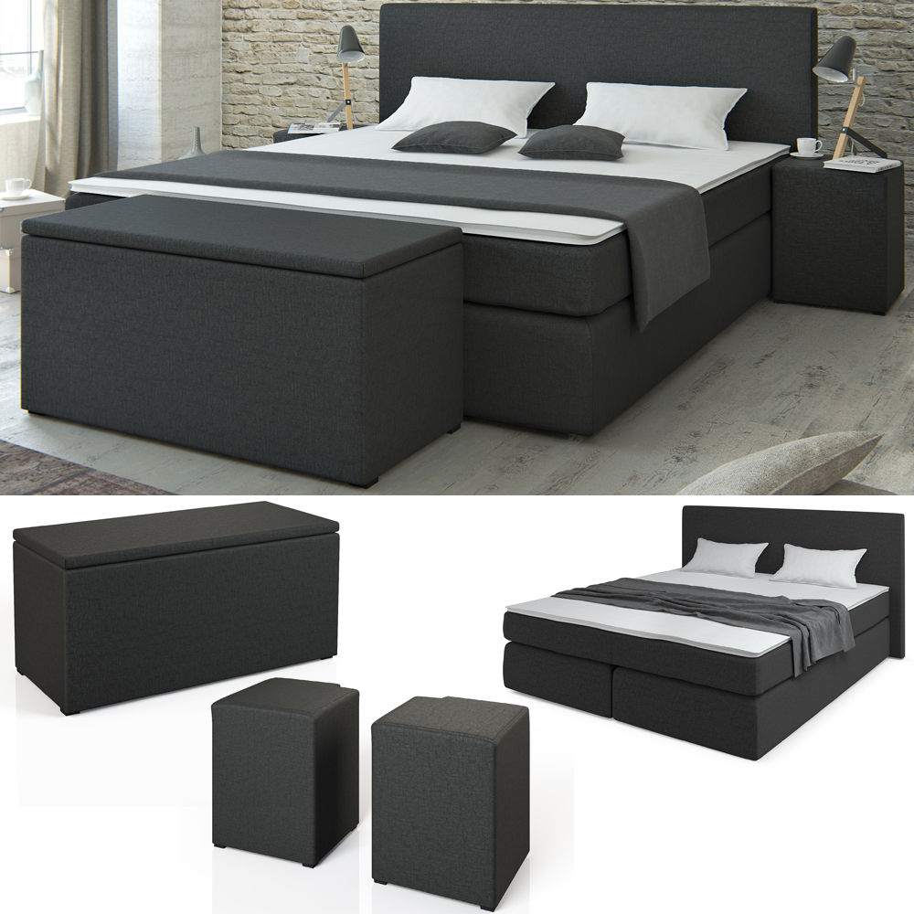 boxspringbett bett hotelbett ehebett doppelbett schwarz 140 200 und 180 200 retro stuhl. Black Bedroom Furniture Sets. Home Design Ideas