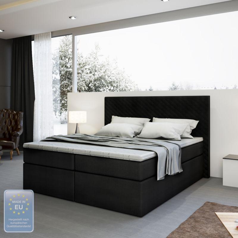 boxspringbett design doppelbett polsterbett bett hotelbett inkl topper 180 200 0 0 retro stuhl. Black Bedroom Furniture Sets. Home Design Ideas
