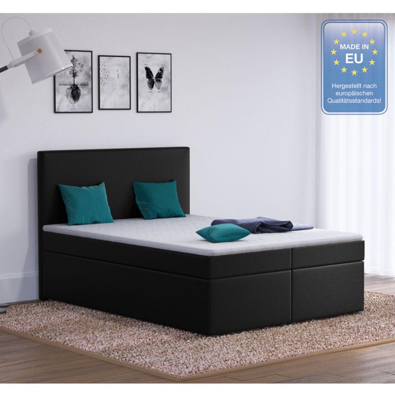 boxspringbett design hotelbett designerbett bett stoff schwarz 140 200 cm 0 retro stuhl. Black Bedroom Furniture Sets. Home Design Ideas