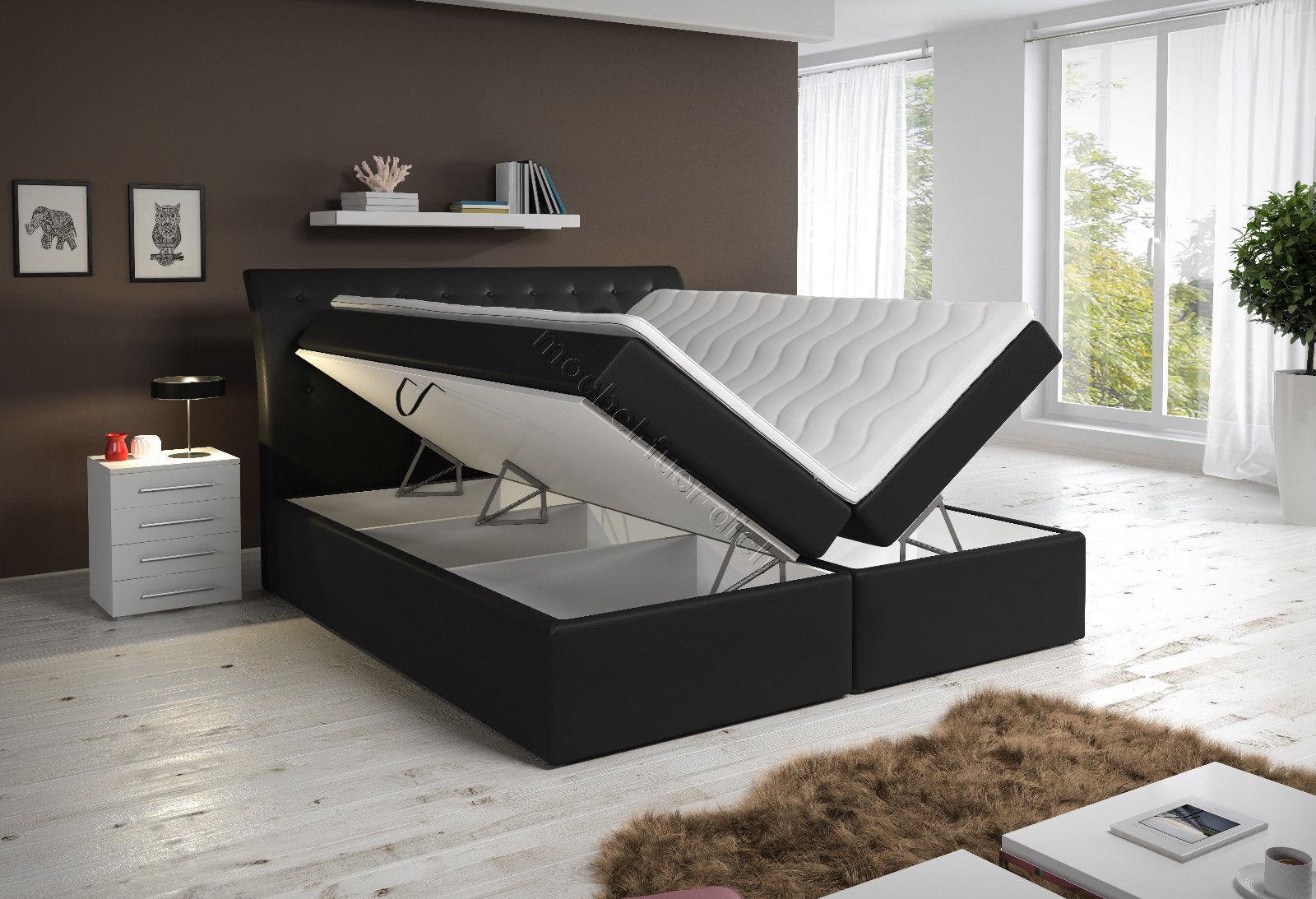 Boxspringbett Kunstlederbett Roxy mit zwei Bettkasten weiß oder schwarz