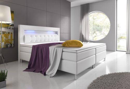 boxspringbett monaco hotelbett 180x200 cm pu kunstleder weiss led beleuchtung retro stuhl. Black Bedroom Furniture Sets. Home Design Ideas