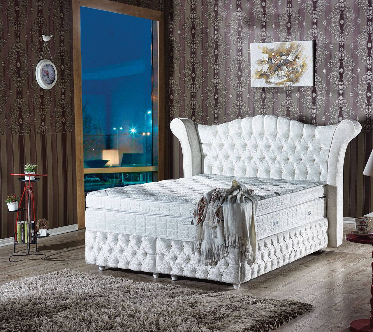 boxspringbett polsterbett doppelbett federkern bettkasten bett matratze sy240 retro stuhl. Black Bedroom Furniture Sets. Home Design Ideas