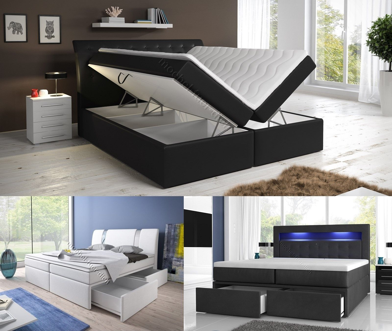 boxspringbett mit zwei bettkasten 140 160 oder 180 200. Black Bedroom Furniture Sets. Home Design Ideas