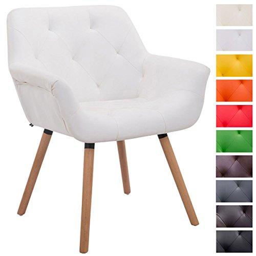 Clp besucher stuhl cassidy holz natura kunstleder mit for Stuhl mit armlehne kunstleder