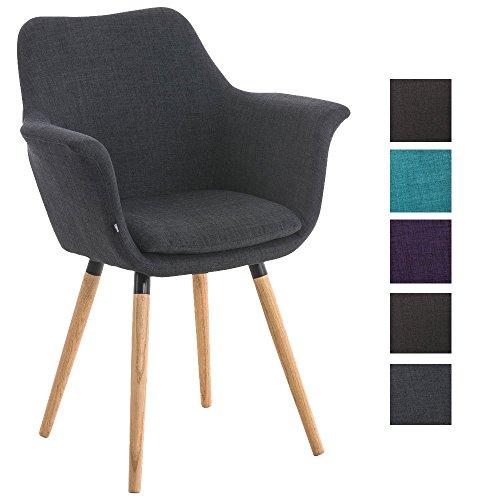 CLP Esszimmerstuhl VANCE mit hochwertiger Polsterung und Stoffbezug | Polsterstuhl mit Armlehne und stabilem Holzgestell | Konferenzstuhl mit einer Sitzhöhe von 54 cm | In verschiedenen Farben erhältlich