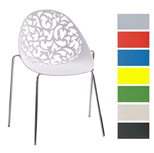CLP Design Retro Stapelstuhl FAITH aus Kunststoff mit stabilem Metallgestell | Platzsparender Stuhl mit pflegeleichter Sitzfläche und einer Sitzhöhe von 45 cm