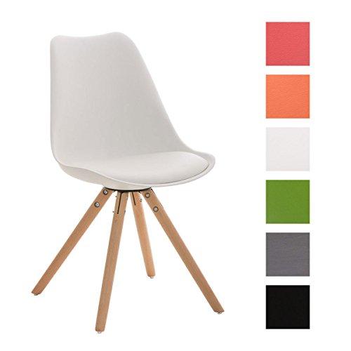 CLP Design-Retrostuhl PEGLEG mit hochwertiger Polsterung und pflegeleichtem Kunstlederbezug | Schalenstuhl mit Holzgestell und einer Sitzhöhe von 46 cm | In verschiedenen Farben erhältlch