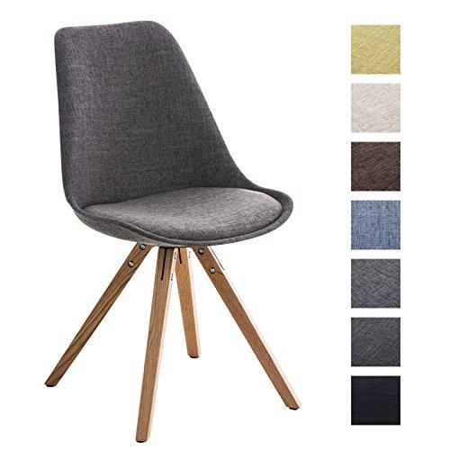 CLP Design Retro-Stuhl PEGLEG SQUARE mit Stoffbezug | Gepolsterter Schalenstuhl mit Holzbeinen und einer Sitzhöhe von: 46 cm | In verschiedenen Farben erhältlich