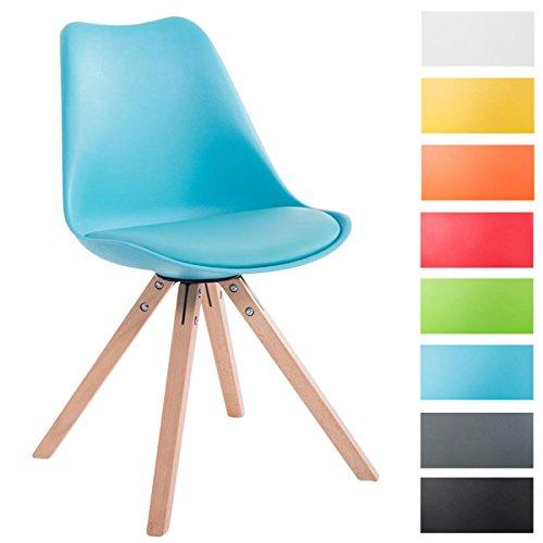 CLP Design Retro-Stuhl TOULOUSE SQUARED mit Kunstlederbezug und hochwertigem Sitzpolster | Kunstoff-Lehnstuhl mit Holzgestell | In verschiedenen Farben