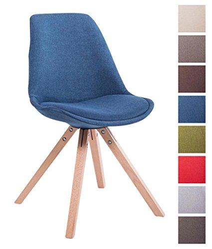 CLP Design Retrostuhl TOULOUSE SQUARE mit Stoffbezug und hochwertiger Polsterung | Lehnstuhl mit Holzgestell | In verschiedenen Farben erhältlich