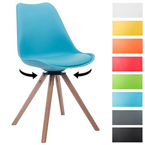 CLP Retrostuhl TROYES mit Kunstlederbezug und hochwertiger Sitzfäche | Stuhl mit drehbarem Schalensitz und massiven Holzbeinen | In verschiedenen Farben erhältlich