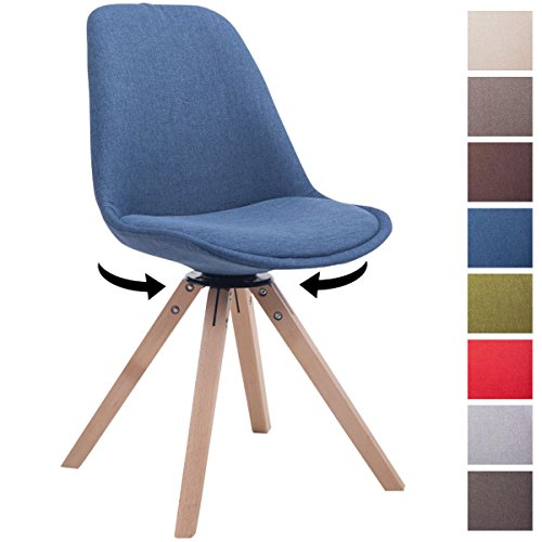 CLP Design Retro-Stuhl TROYES SQUARE mit Stoffbezug und hochwertiger Polsterung | Drehbarer Stuhl mit Schalensitz und massiven Holzbeinen | In verschiedenen Farben erhältlich