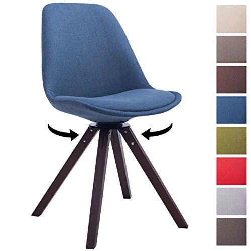 CLP Design Retro-Stuhl TROYES Holzgestell, Walnuss Square, Stoff-Sitz gepolstert drehbar