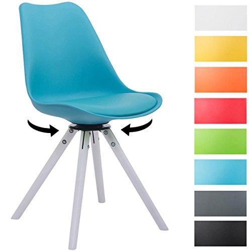 CLP Design Retro-Stuhl TROYES Holzgestell, Weiß Rund, Kunststoff-Lehne, Kunstleder-Sitz gepolstert drehbar