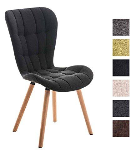 CLP Esszimmerstuhl ELDA mit hochwertiger Polsterung und Stoffbezug | Lehnstuhl mit robustem Holzgestell | Polsterstuhl mit stilvollen Ziernähten | Besucherstuhl mit einer Sitzhöhe von 46 cm