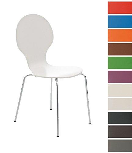 CLP Stapel-Stuhl DIEGO, Holzsitz, robust, pflegeleicht, ergonomisch geformt, 12 Farben