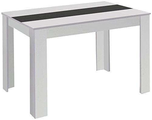 Cavadore 80498 Tisch Nico / Moderner Esstisch mit wendbarer Melaminplatte in Schwarz-Weiß / Melamin Sonoma Eiche / Hellbraun / 180 x 90 x 75 cm (L x B x H)