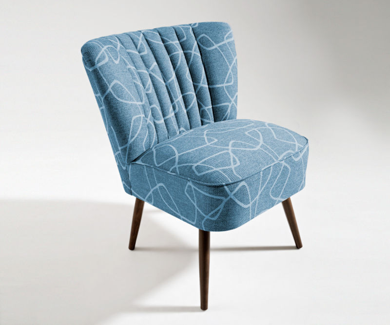 cocktailsessel 50er jahre retrosessel beine hell o dunkel linie in blau neu retro stuhl. Black Bedroom Furniture Sets. Home Design Ideas