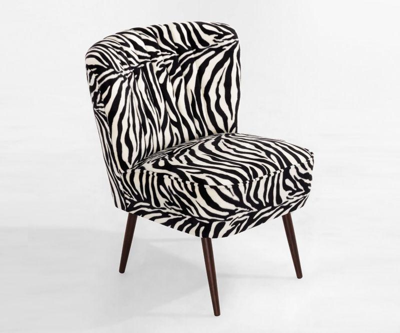 Cocktailsessel 50er Jahre Retrosessel Beine hell o.dunkel -Kunstfell Zebra  NEU